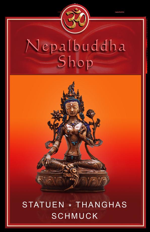 Buddhafigur vor orangem Hintergrund